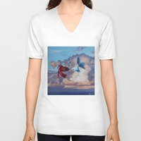 life aquatic V-neck T-shirts featuring Aquatic Skies by BAM! Arts
