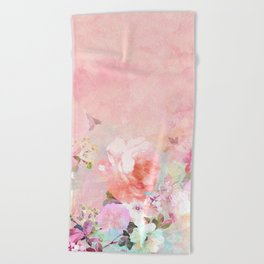 Modern blush watercolor ombre floral watercolor pattern Beach Towel