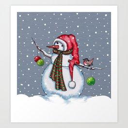 Snowman With Scarf & Hat, Falling Snow, Christmas, Birdie Art Print