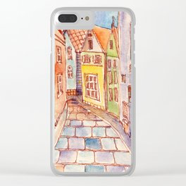 Street in old town of Tallinn. Watercolor painting Clear iPhone Case