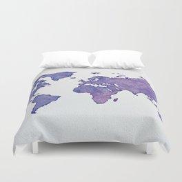 Purple World Map 02 Duvet Cover