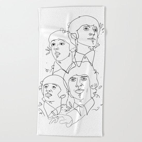 line drawing 001 Beach Towel