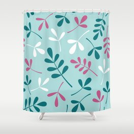 Assorted Leaf Silhouettes Teals Pink White Shower Curtain