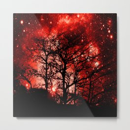 black trees red space Metal Print