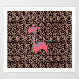 Cartoon Giraffe in Leopard Space  Art Print