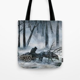 Grim Reaper with Horse in the Woods Tote Bag