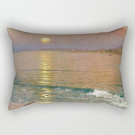 Dusk over the Coast with Lighthouse seascape nautical painting by Guillermo Gómez Gil  Rectangular Pillow