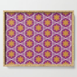White and gold lace on plum Serving Tray