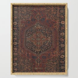 Boho Chic Dark I // 17th Century Colorful Medallion Red Blue Green Brown Ornate Accent Rug Pattern Serving Tray