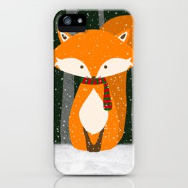Fox Wintery Holiday Design iPhone Case