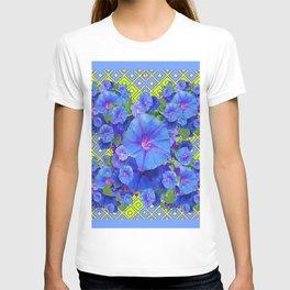 Lime-Blue Morning Glories Pattern Art T-shirt