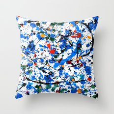 Abstract #23 - Frenzy in Blue Throw Pillow