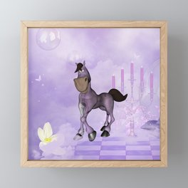 Cute cartoon horse Framed Mini Art Print
