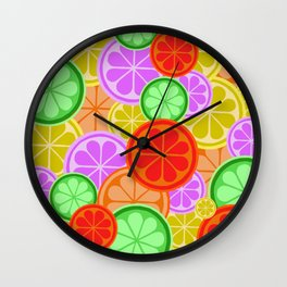 FRUITY CITRUS PATTERN BIG BOLD ORANGES LEMONS AND PINK GRAPEFRUIT WITH LIMES Wall Clock
