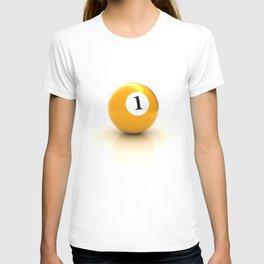 yellow pool billiard ball number 1 one T-shirt