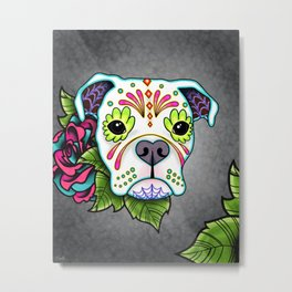 Boxer in White- Day of the Dead Sugar Skull Dog Metal Print
