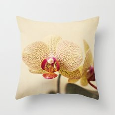 Yellow Spotted Orchid Throw Pillow