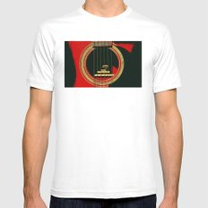 Guitar Sound Hole SMALL Mens Fitted Tee White