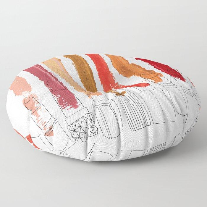 Lipstick Stripes - Red Orange Gold Floor Pillow