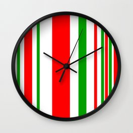 Christmas Stripes of Green Red and White- candy cane colors Wall Clock