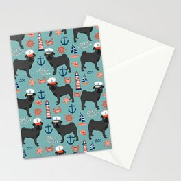 Pug nautical sailing pattern dog breed pet portrait pet friendly dog art Stationery Cards