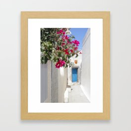 Blue Door with Pink Flowers Santorini Greece Framed Art Print