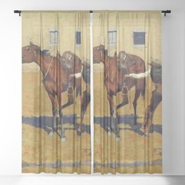 """Frederic Remington Western Art """"His First Lesson"""" Sheer Curtain"""
