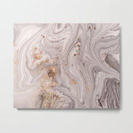 Pastel Marble with Golden Dust Metal Print