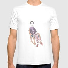 girl in a chair Mens Fitted Tee White MEDIUM