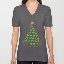 Dog Christmas Tree Unisex V-Neck