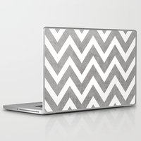 gray Laptop & iPad Skins featuring gray chevron by her art