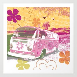 girl camper Art Print