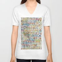 knit V-neck T-shirts featuring Knit Pattern  by Manuela Mishkova