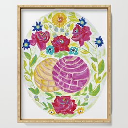 Pan Dulce Painting - Pink and Yellow, Conchas, Mexican Art Serving Tray