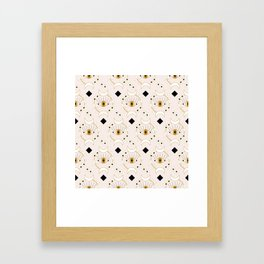 Elegant eyes and flowers in a seamless pattern design Framed Art Print