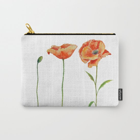 Simply poppy Vintage Watercolor illustration on white background on #Society6 Carry-All Pouch