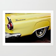 Yellow Vintage Ford Thunderbird Car Art Print