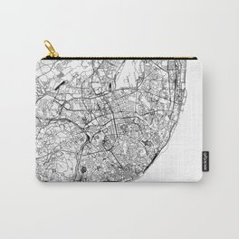 Lisbon White Map Carry-All Pouch