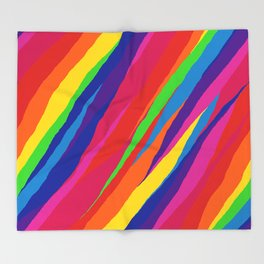 Wonky Rainbow Stripes Throw Blanket