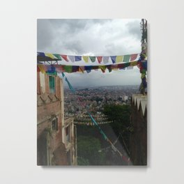 Prayers flags over Kathmandu Metal Print