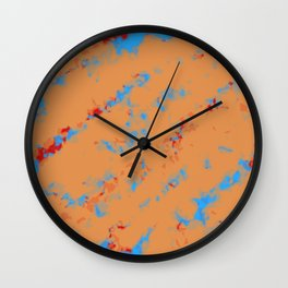 brown orange red and blue dirty painting background Wall Clock
