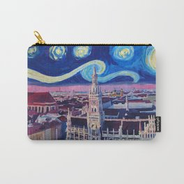 Starry Night In Munich Van Gogh Inspirations with Church of Our Lady and City Hall Carry-All Pouch