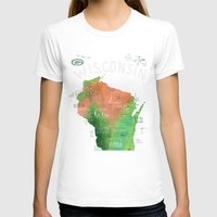 wisconsin T-shirts featuring Wisconsin Map by Stephanie Marie Steinhauer
