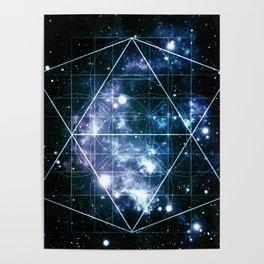 Galaxy Sacred Geometry Deep Ocean Blue Poster