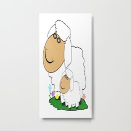 Sheep With Lamb Metal Print