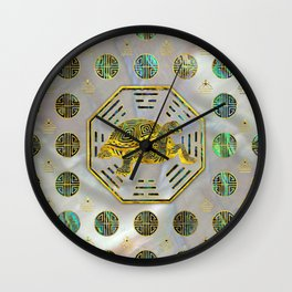 Golden Tortoise / Turtle Feng Shui Abalone Shell Wall Clock