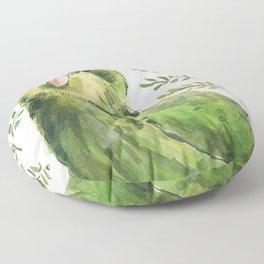 Kakapo in the ferns Floor Pillow