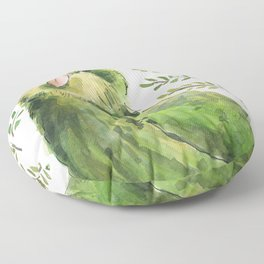 Kakapo in the ferns Floor Pillow