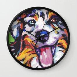 Fun AUSTRALIAN SHEPHERD Dog bright colorful Pop Art Wall Clock