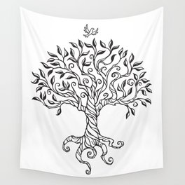 Shirley's Tree BW Wall Tapestry